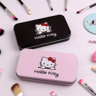 7 st. sminkborstar Hello Kitty med snyggt svart fodral