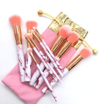 Pink Marble 10 st. sminkborstar med snygg förvaring