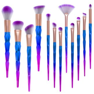 (Unicorn Colorful Pro) Set med 12 st. exklusiva smink / makeup borstar