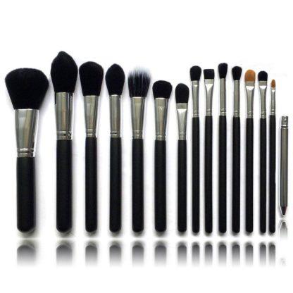 15 st. Svart / Silver Make-up / sminkborstar av bästa kvalité