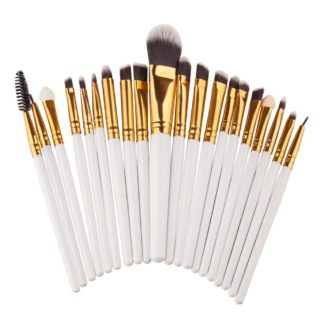 (Eyebrush Pro White) 20 st. professionella Make-up / sminkborstar för ögonen