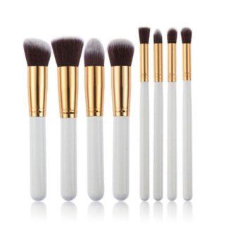 8 st. Vit / Guld Make-up / sminkborstar av bästa kvalité