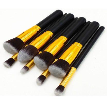 8 st. Svart / Guld Make-up / sminkborstar av bästa kvalité