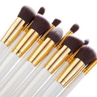 10 st. Vit / Guld Make-up / sminkborstar av bästa kvalité