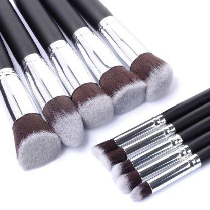 10 st. Svart / Silver Make-up / sminkborstar av bästa kvalité