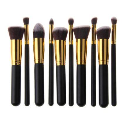 10 st. Svarta / Guld Make-up / sminkborstar av bästa kvalité