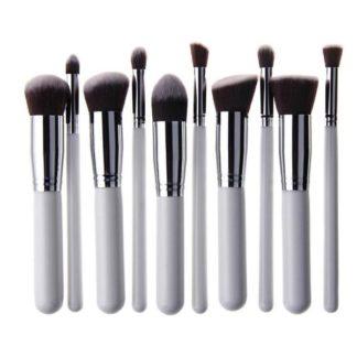 10 st. Vit / Silver Make-up / sminkborstar av bästa kvalité