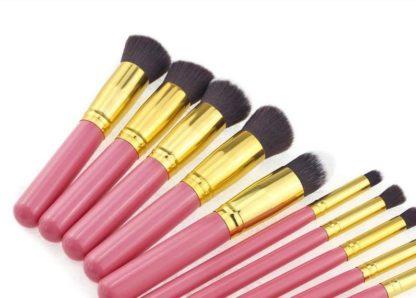 10 st. Rosa / Guld Make-up / sminkborstar av bästa kvalité