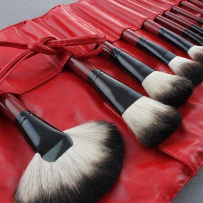 (Red Pro) 22 st. sminkborstar i rött läderfodral