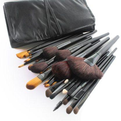 (Pro Black) 32 st. populära sminkborstar i läderfodral - bästsäljare!