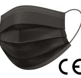 Munskydd, CE godkända, IIR klass, 3-lagers filter, 50 st, ansiktsmask, Svart