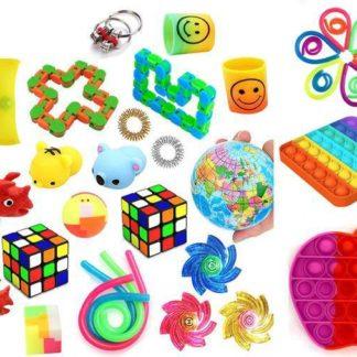 Favor 38st Fidget Set Pack för barn Pop it Stress ball
