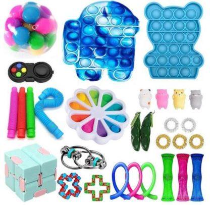 PRO Blå 30 st. Fidget Pop it Toys Set pack för barn och vuxna