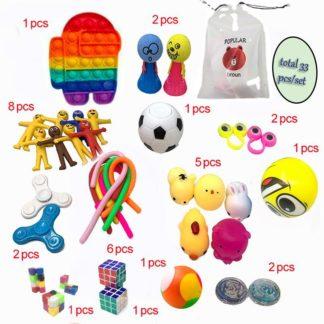 33 stk Fidget Pop it legetøjspakke til børn og voksne