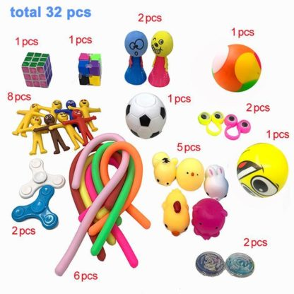 Popular Broun 32 stk Fidget Pop it legetøjspakke til børn og voksne