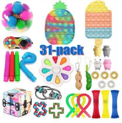 PRO 31 st. Fidget Pop it Toys Set pack för barn och vuxna